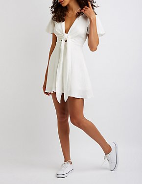 Split Sleeve Tie Front Dress