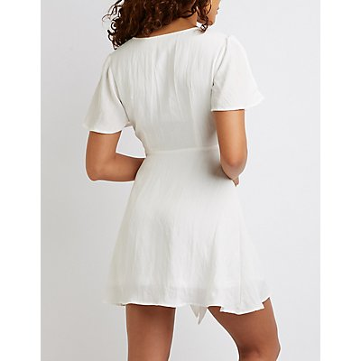 Split Sleeve Tie Front Dress