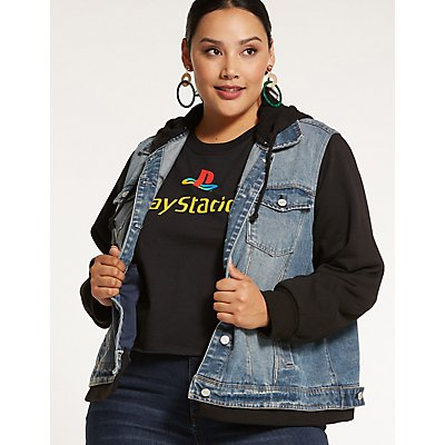 Plus Size Refuge Hooded Denim Jacket