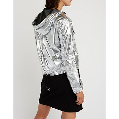 Metallic Nylon Parka Jacket