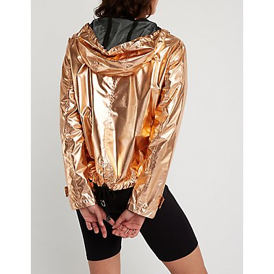 Metallic Nylon Parka Jacket