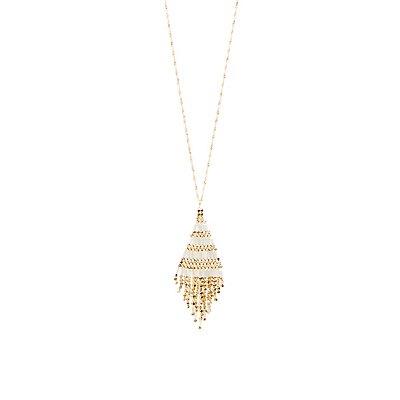 Beaded Triangle Pendant Necklace