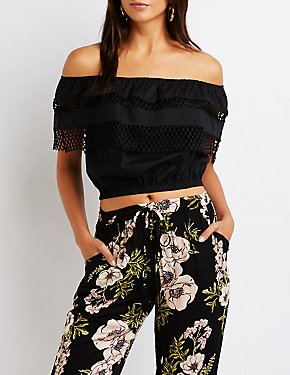 Mesh Trim Off The Shoulder Top