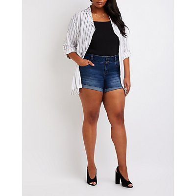 Plus Size Hi Rise Denim Shorts