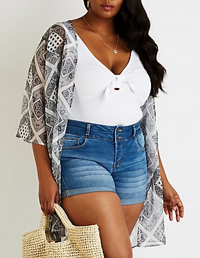 Plus Size High Waist Denim Shorts