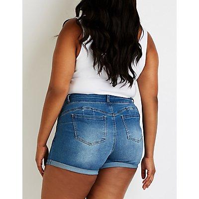 Plus Size High Waist Denim Shorts