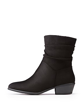 Ruched Faux Suede Booties
