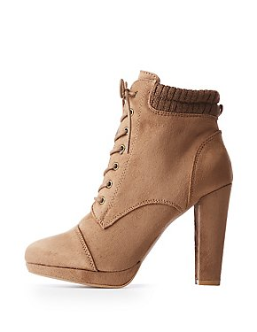 Sweater Trim Combat Booties