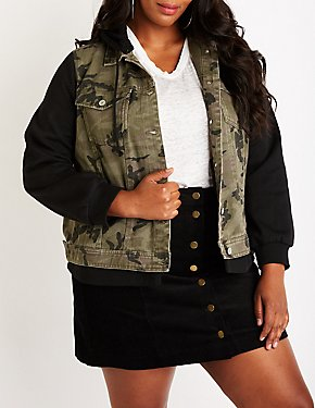 Plus Size Camo Denim Hoodie Jacket