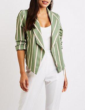 Striped Ruched Sleeve Blazer