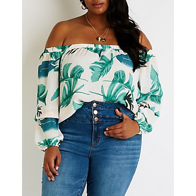 Plus Size Floral Off The Shoulder Top