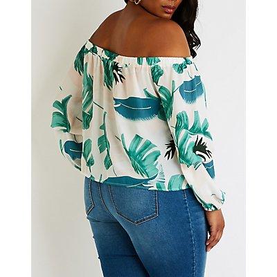 Plus Size Floral Off The Shoulder Top