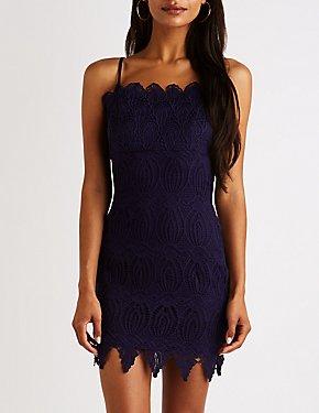 Scalloped Crochet Bodycon Mini Dress