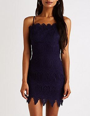 Scalloped Crochet Bodycon Mini Dress