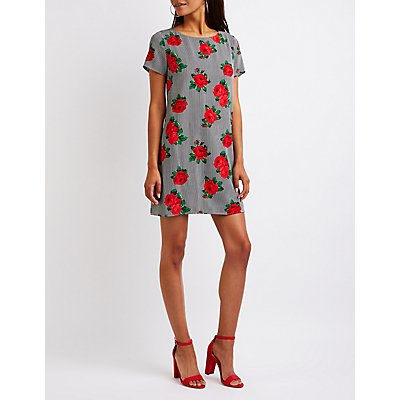 Floral Striped Caged Shift Dress