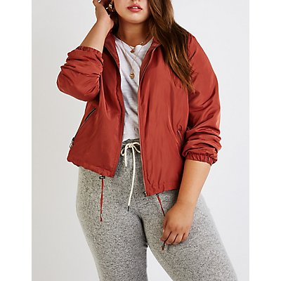 Plus Size Hooded Wind Breaker Jacket