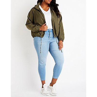 Plus Size Hooded Wind Breaker Jacket