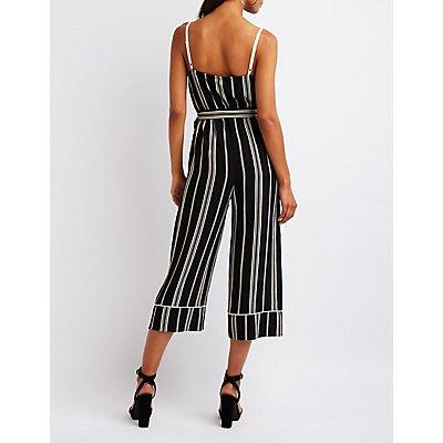 Striped Tie Front Jumpsuit