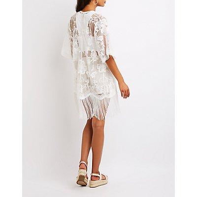 Sheer Lace Fringe-Trim Kimono