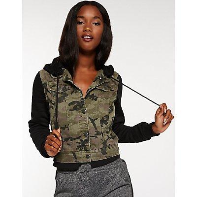 Camo Sweatshirt & Denim Jacket