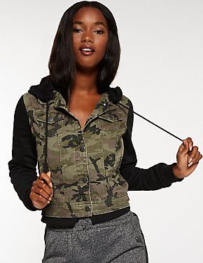 Camo Sweatshirt & Denim Jacket