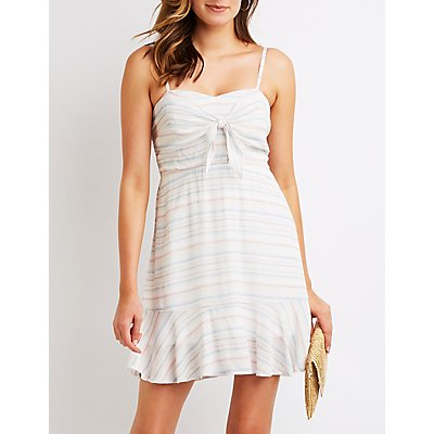 Striped Tie Front Skater Dress