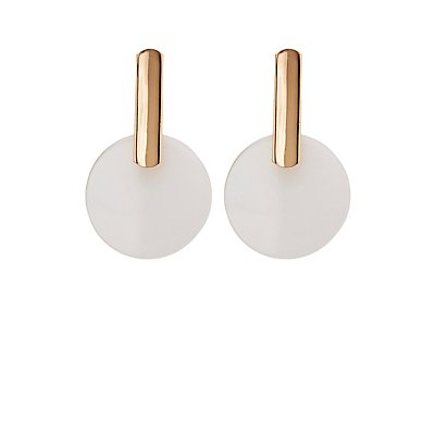 Oval Clear Disc Drop Earrings