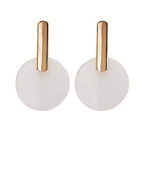 Oval Clear Disc Drop Earrings