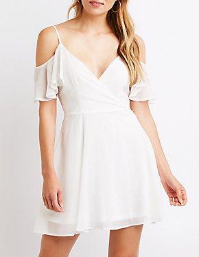 Cold Shoulder Wrap Skater Dress