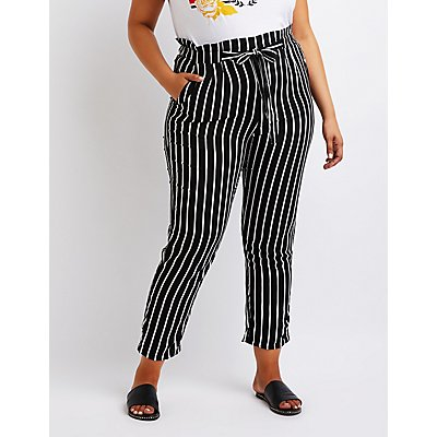 plus-size-striped-paperbag-trousers by charlotte-russe