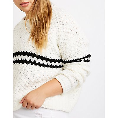 Plus Size Stripe Detailed Pullover Sweater