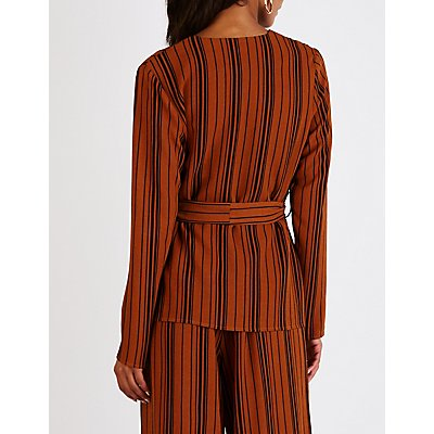 Striped Tie Front Collarless Blazer