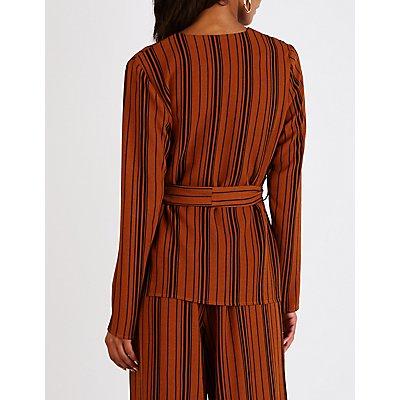 Striped Tie Front Collarless Blazer