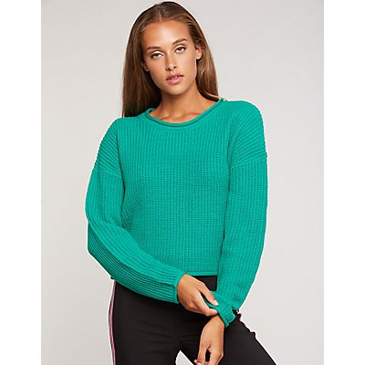 Shaker Stitch Crop Sweater