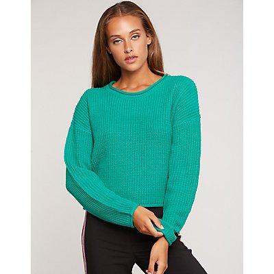 Shaker Stitch Crop Sweater