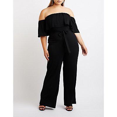 Plus Size Ruffle Off-The-Shoulder Jumpsuit