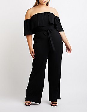 Plus Size Ruffle Off-The-Shoulder Jumpsuit