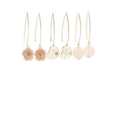 Embellished Drop Earrings - 3 Pack