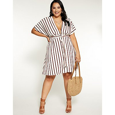 Plus Size Striped Button Up Dress