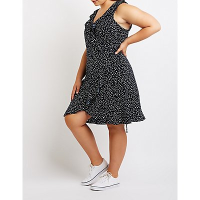Plus Size Polka Dot Wrap Tie Dress