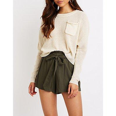 Single Pocket Cropped Sweater