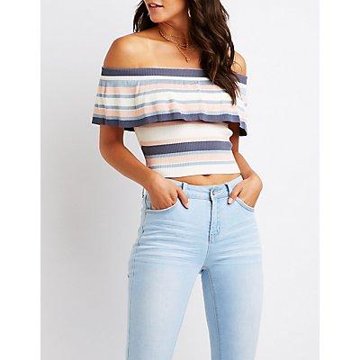 Striped Off The Shoulder Top
