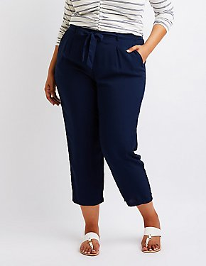Plus Size Cropped Trousers
