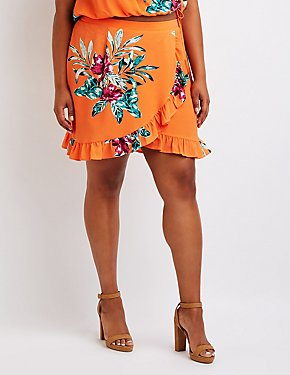 Plus Size Floral Wrap Skirt