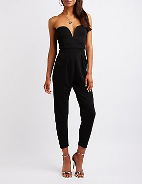 V Notch Strapless Jumpsuit