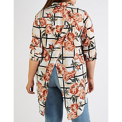 Plus Size Printed Button Up Tunic