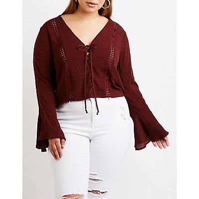 Plus Size Lace Up Crochet Top