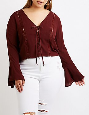 Plus Size Lace Up Crochet Top