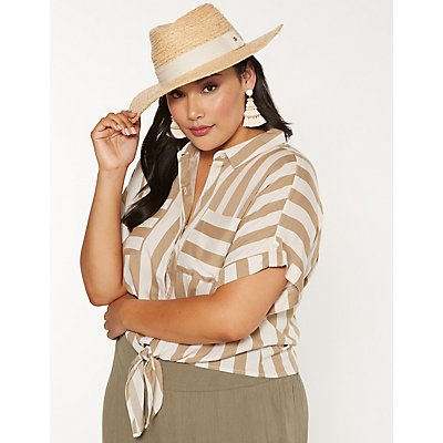 Plus Size Striped Tie Front Button Up Top