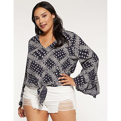 Plus Size Printed Tie Front Top